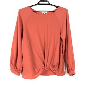 Umgee Long Sleeve Top Sz Large Rust Red Twist Knot